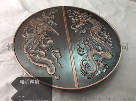 圆弧红古铜铝板雕刻花纹大门拉手,定做红古铜铝板拉手