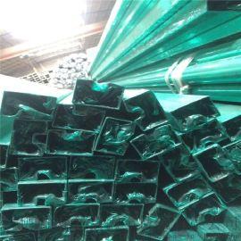 304不锈钢槽管 U型凹槽异型钢管 夹玻璃凹槽管 双凹槽管加工定做