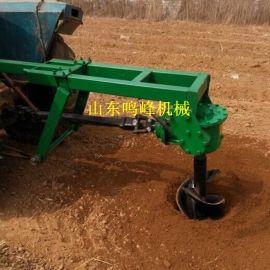 四轮拖拉机后置挖坑机,螺旋式钻坑机