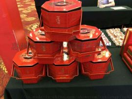 步步高升手提铁罐 食品罐 双层八角罐