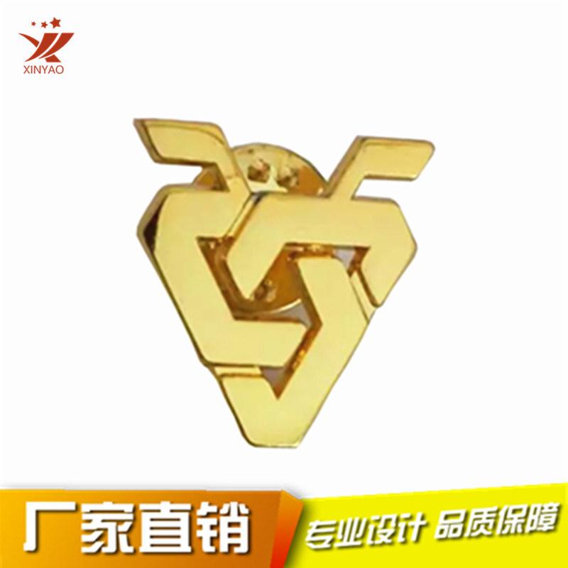 徽章定制金属**磨砂异形镀金徽章公司标志徽章胸徽