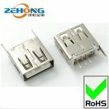 高品质USB母座系列2.0AF直脚直插180度平口无卷边USB插座连接器