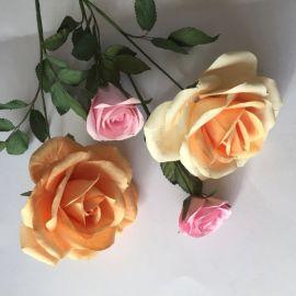 玫瑰纸花 新娘手捧花 情人节单支玫瑰 厂家直销