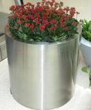 廠家生產定做304不鏽鋼花箱 商務酒店擺件 圓柱形花盆
