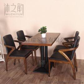 欧式咖啡馆西餐厅卡座沙发 复古实木奶茶甜品店茶餐厅餐桌椅组合