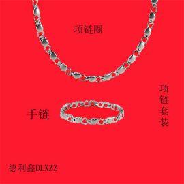 德利鑫DLXZZ瓜子项链手链套装钢钛心形项圈时尚情侣礼品批发制造商