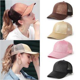女士夏季帽子后高开口马尾辫棒球帽荧光亮片遮阳防晒透气网帽女潮