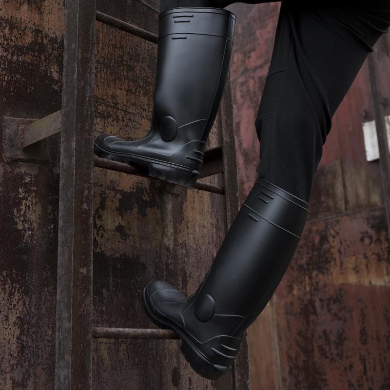 制造加厚PVC高筒耐磨防护雨靴钢包头钢底防砸防穿刺耐油酸碱雨鞋