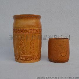 廠家專業定製天然原竹高檔碳化雕刻竹製茶葉筒茶葉罐禮品包裝