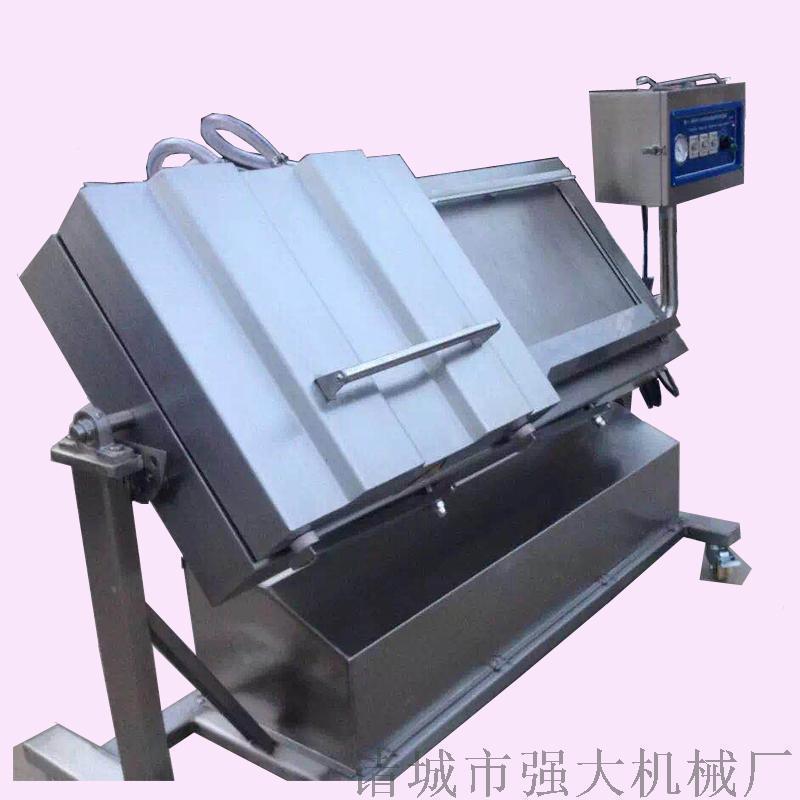 强大机械出售水产品专用倾斜式真空包装机