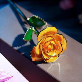黛雅橘黄色玫瑰花镀金 送老婆/女友一个难忘的生日礼物 厂家批发