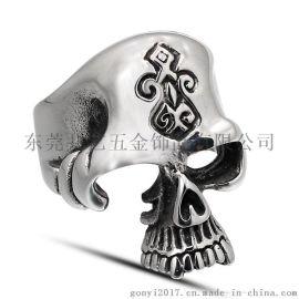 流行饰品戒指 钛钢骷髅头男士戒指 个性时尚摇滚时尚达人饰品单身潮流