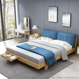 简易欧式橡木床1.8米双人床带抽屉实木床厂家直销