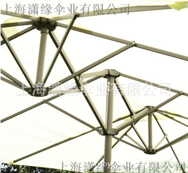 双头户外伞、双顶遮阳伞定做工厂、双头阳伞庭院伞