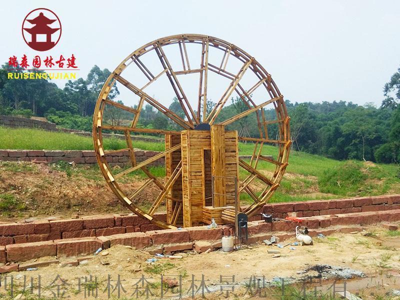 成都景观水车厂,木质水车定制厂家