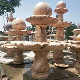 石雕喷泉晚霞红欧式风水球流水喷泉室内户外摆件