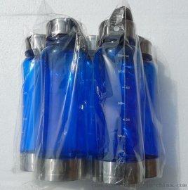 厂家批发钢盖塑料太空杯