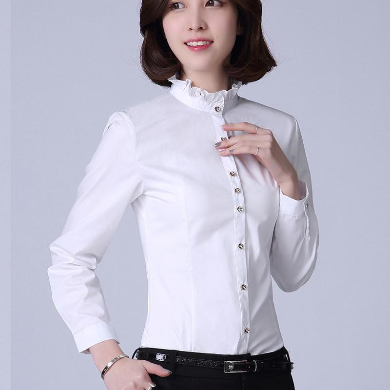 2016新款女装休闲百搭学生职业韩范小清新花边立领衬衫女长袖
