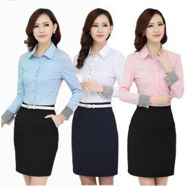 男女工作服襯衫定做 2016秋季新款修身女上衣OL職業裝訂制logo
