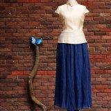 中式丝麻立领修身珍珠扣短款改良唐装修身女上衣茶服禅服汉服