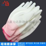 廣州尼龍纖維PU塗膠手套十三針塗指勞保手套尼龍防靜電廠家直銷