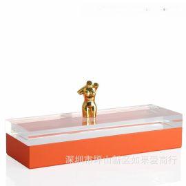 橙色长方形亚克力金色女人身合金首饰盒饰品欧式创意客厅卧室摆件