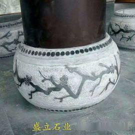 石雕青石仿古柱子底座 石墩子垫脚石 柱脚石柱托