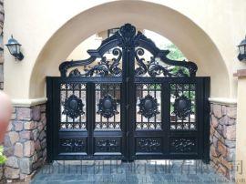 广东庭院门厂家、铁艺门、铝艺门、电动大门