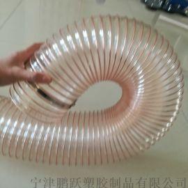 进口工业软管(pu透明钢丝木工吸尘管)
