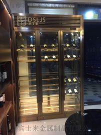 北京碧桂园客厅恒温酒柜地下红酒柜不锈钢酒架定制