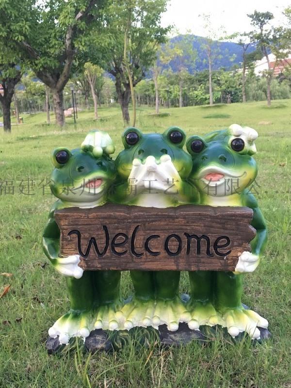 树脂仿真青蛙 花园林玻璃钢落地仿真青蛙雕塑厂家