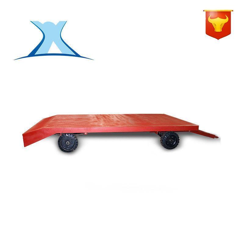 车间物料运输转运胶轮四轮车拖车  石料搬运无动力无轨平板车拖车