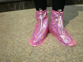 女式粉红PVC雨鞋套(H-302)