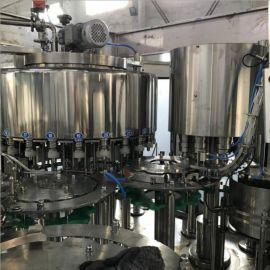 厂家直销全自动玻璃瓶果汁饮料生产线 茶饮料三合一灌装机