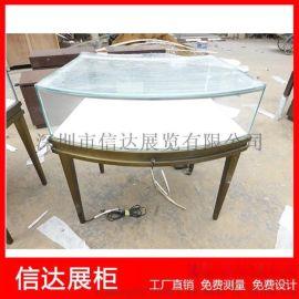 不锈钢弧形珠宝展示陈列柜台 透明玻璃展示柜