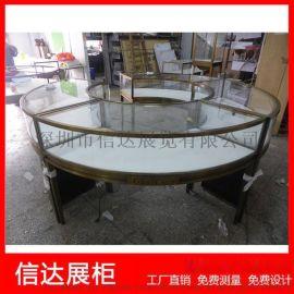 不锈钢弧形产品陈列柜圆形珠宝展览柜透明玻璃展示柜