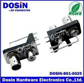德索BNC射频同轴连接器,DOSIN-801-0013二孔BNC母头视频连接器、 安防bnc接头