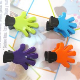 供应塑料多色塑料手掌夹 标签夹 圆盘夹 卡片夹 磁铁夹