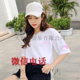 棉质短袖 地摊衣服 女装圆领 短袖印花T恤 便宜T