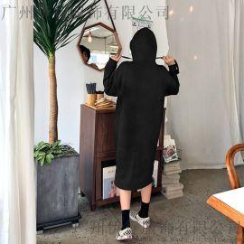 米祖杭州下尾货服装批发市折扣女装 广州尾货服装批发市场藏蓝色针织衫