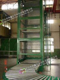 广州油桶提升机,铁通滚筒线升降机,油桶输送生产线