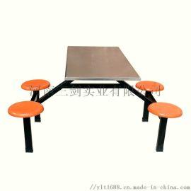 餐厅连体餐桌椅组合多人位 学生食堂餐厅食堂桌椅