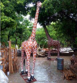 玻璃钢长颈鹿雕塑幼儿园游乐场所主题形象装饰摆件