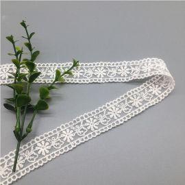 网布刺绣花边双边小波浪服装服饰花边辅料雪花绣花花边