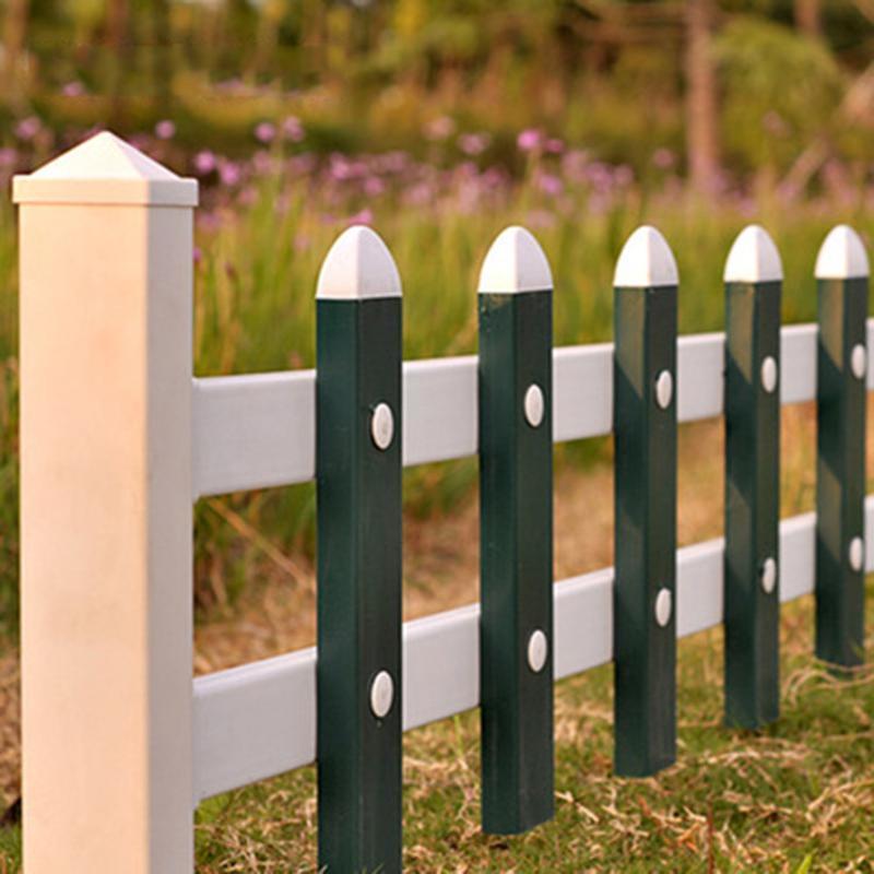 城市綠化帶景觀柵欄 白綠相間草坪護欄 小區庭院花園PVC圍欄廠家