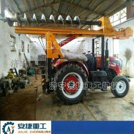 四驱打桩机 农用拖拉机改装打桩机 拖拉机挖坑机