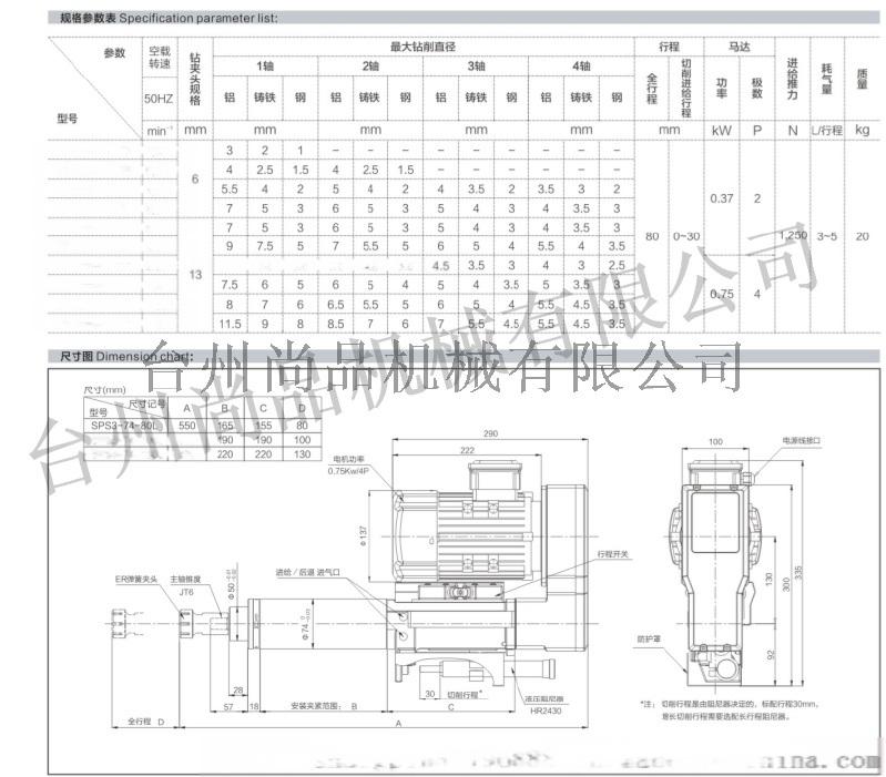 尚品机械 供应SPS3-74-130气动钻孔动力头