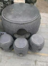 青石仿古做旧石桌石凳 雕花石雕桌子