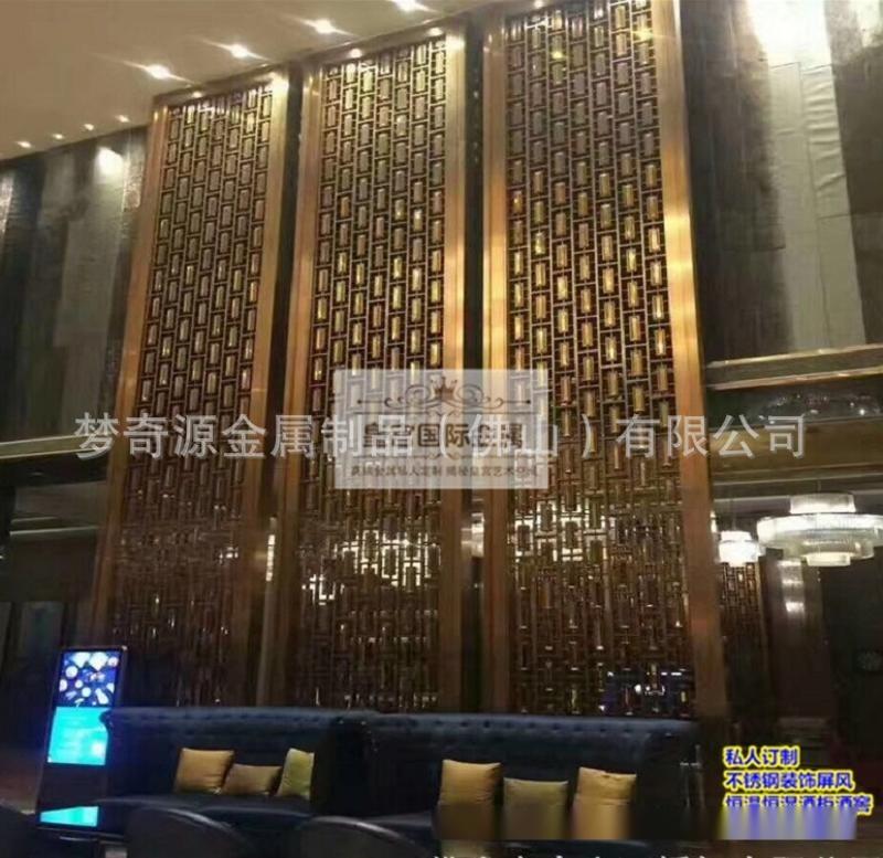 不鏽鋼拉絲玫瑰金藝術花格,客廳玄關不鏽鋼屏風定製