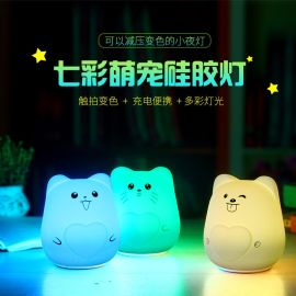 深圳创意萌宠七彩硅胶灯USB充电小夜灯卧室床头拍拍减压迷你台灯